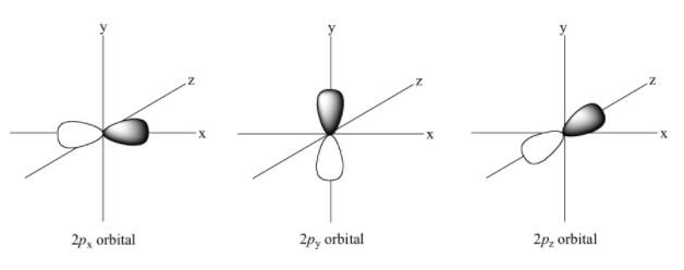 Cada orbital p se orienta en distintas direcciones, manteniendo un equilibrio con los demás.