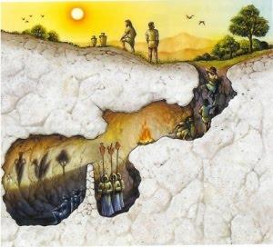 La alegoría de la caverna, de Platón, describe la situación de la humanidad, que toma las sombras como la realidad.